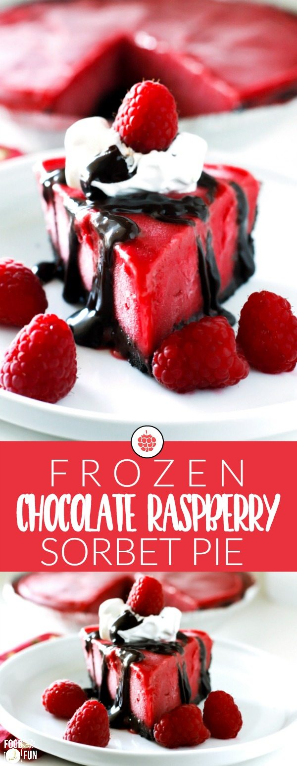 Oreo cookie crust, rich hot fudge, and luscious raspberry sorbet pair perfectly to make this Frozen Chocolate Raspberry Pie truly divine!