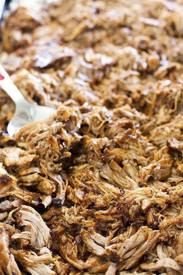 A big platter filled with root beer pulled pork.