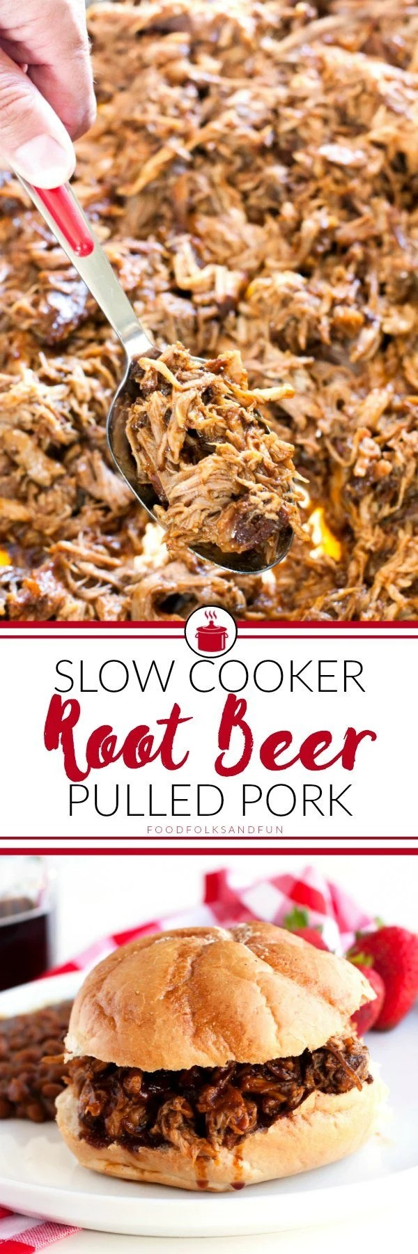 Picture collage of root beer pulled pork for Pinterest.