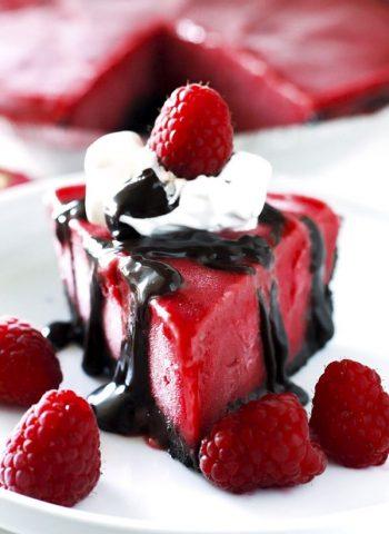 A slice of Frozen Chocolate Raspberry Pie