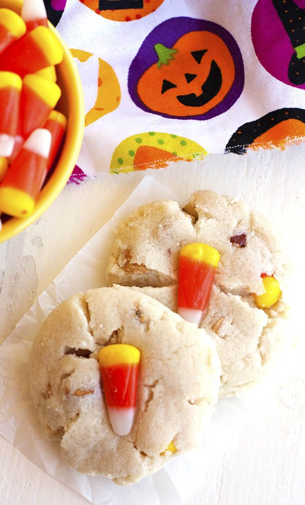 An overhead picture of two Candy Corn Cookies.