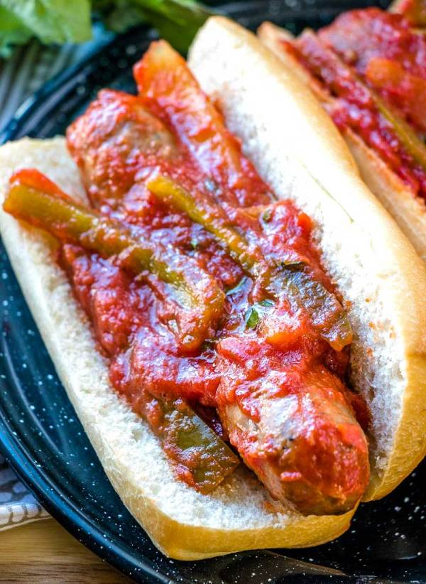 Sausage and Peppers on a bun.