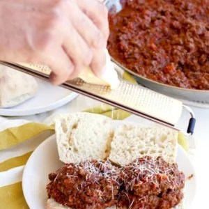 Process shot of making Beef Bolognese Sloppy Joes