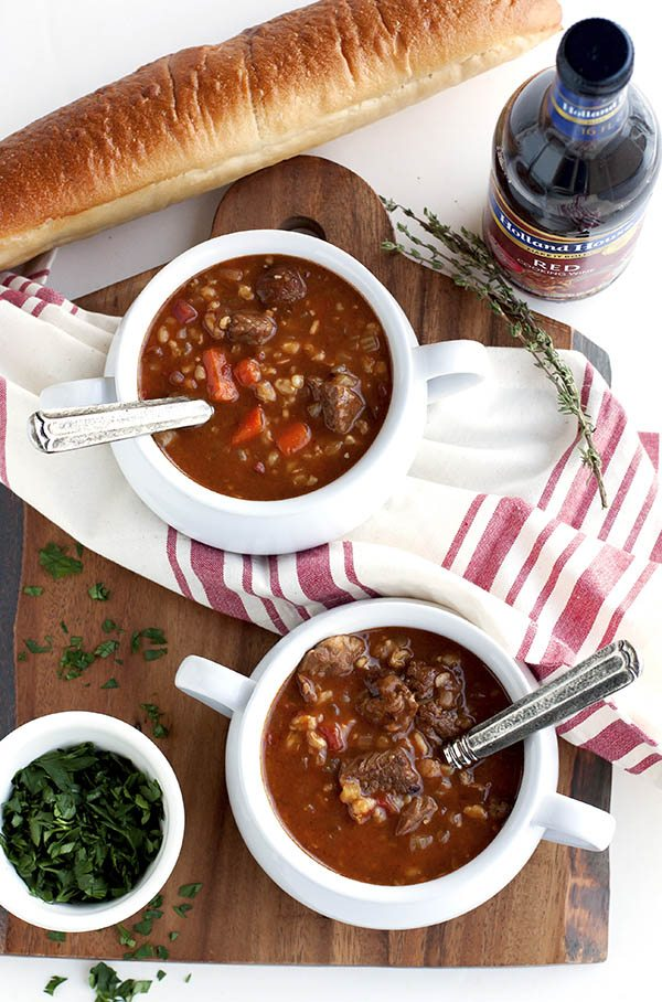 Overhead picture of beef and barley soup.