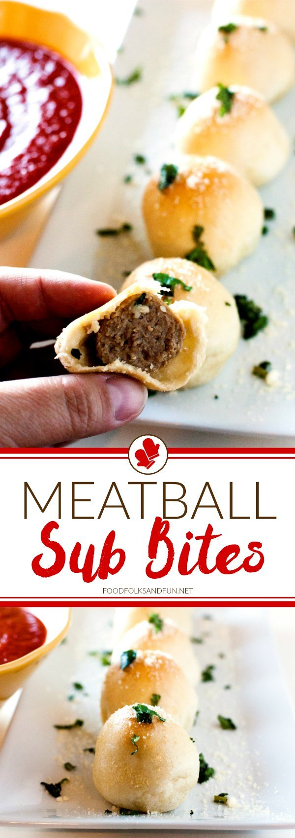 Meatball Sub Bites picture collage for Pinterest.