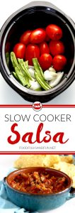 """This """"set it and forget it"""" slow cooker salsa will soon become your favorite salsa recipe! It's incredibly easy to make with very little prep time."""