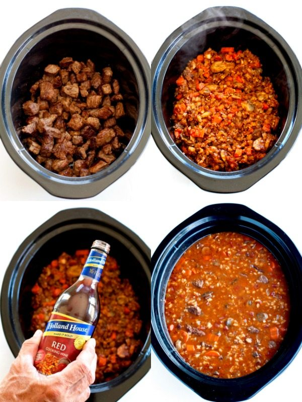 Steps 2 and 3 oc Slow Cooker Beef and Barley Soup Recipe