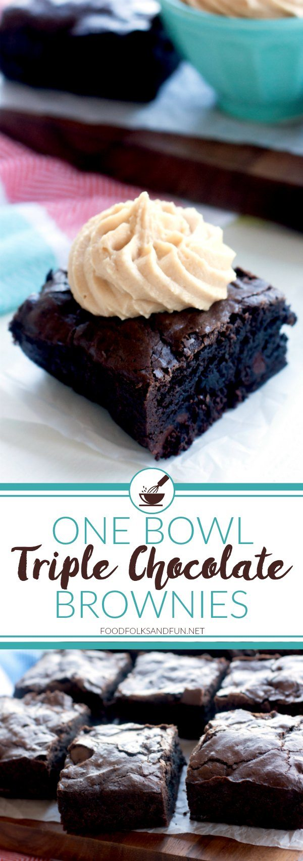 These Triple Chocolate One Bowl Brownies are rich, fudgy, and so incredibly easy to make! One bowl is all it takes to make this kitchen staple!