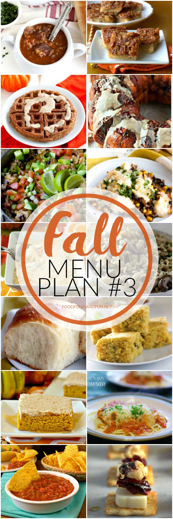 Fall-themed dinner recipes in a collage with text overlay for Pinterest