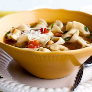 A bowl of Tortellini Soup