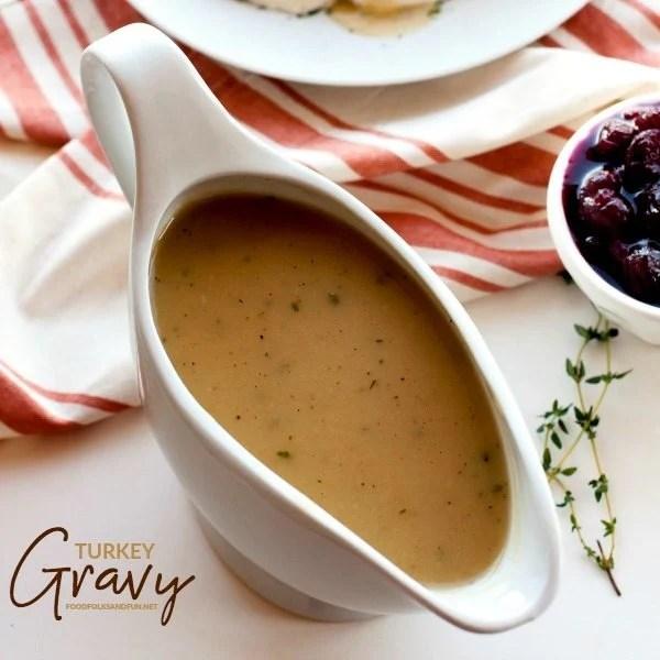Turkey gravy in a gravy boat with text overlay for social media.