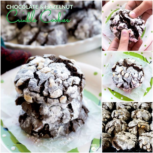 A collage of Chocolate Crinkle Cookies with Hazelnuts with text overlay for Pinterest