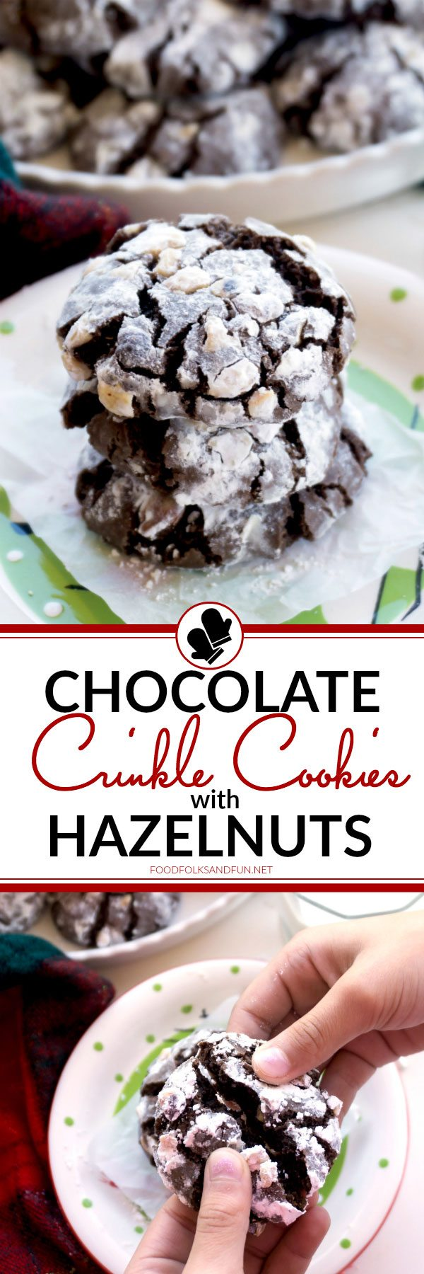 A collage of Chocolate Crinkle Cookies with text overlay for social media