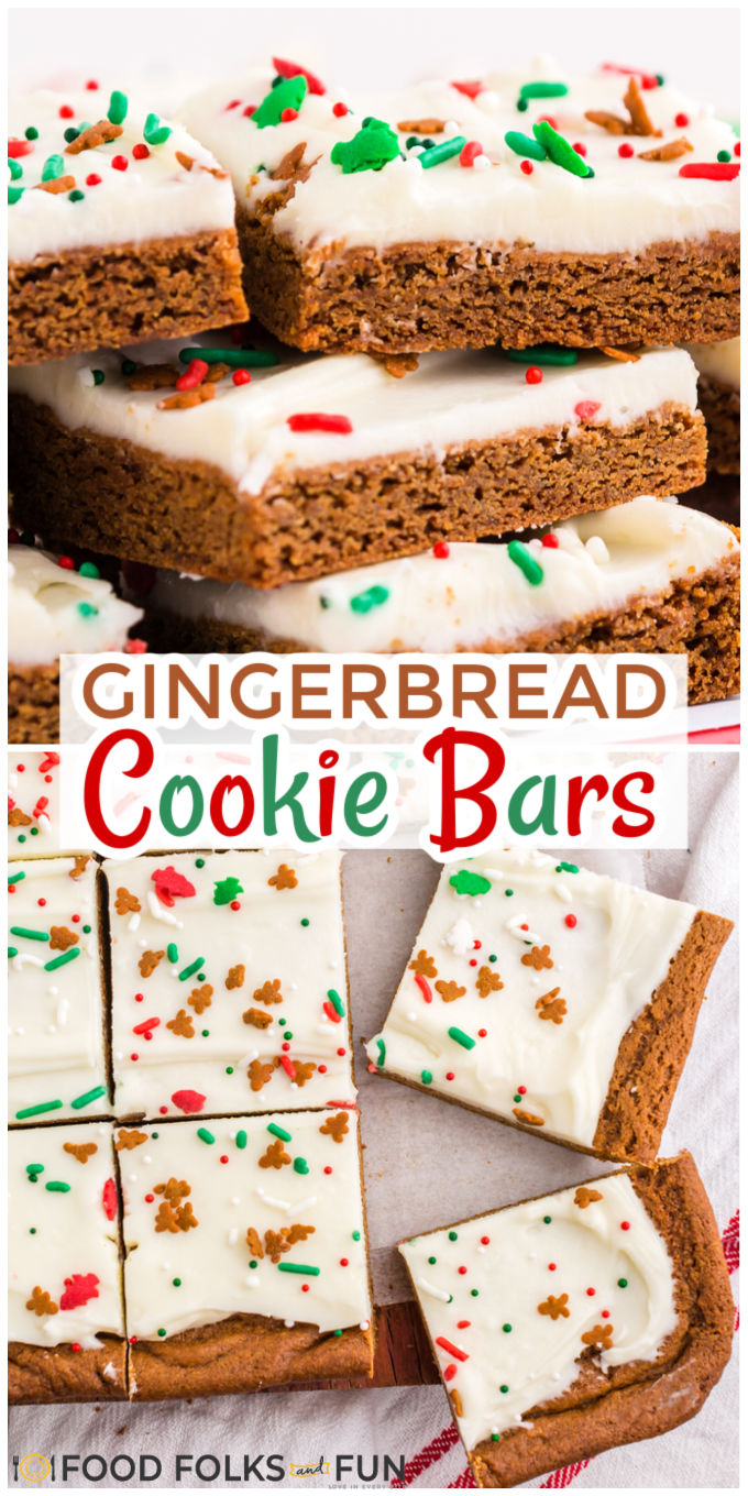 These soft and chewy Gingerbread Bars couldn't be easier to make! They are deliciously spicy with just the right amount of cream cheese frosting! They feed a crowd, so they're perfect for holiday parties and cookie trays. via @foodfolksandfun