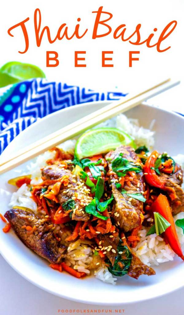Thai Basil Beef with bell peppers, shallots, and a delicious dark Thai sauce.