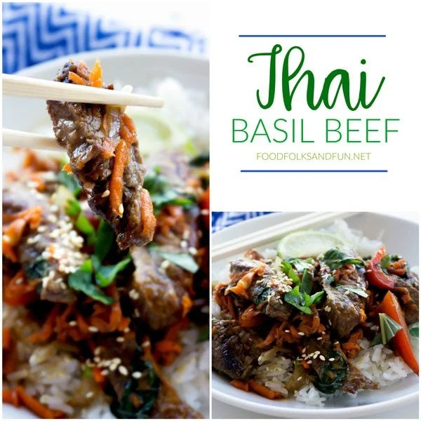 Thai Basil Beef (a.k.a. Pad Gra Prow) is tasty, easy, and so satisfying. It's loaded with flank steak, bell pepper, garlic, shallots, carrots, basil, and a deep, dark Thai sauce!