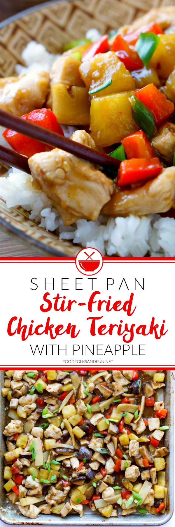 Sheet pan recipes are quick, easy, and all the rage. This Sheet Pan Stir-Fried Chicken Teriyaki with Pineapple is so flavorful, and just the thing for busy weeknights!