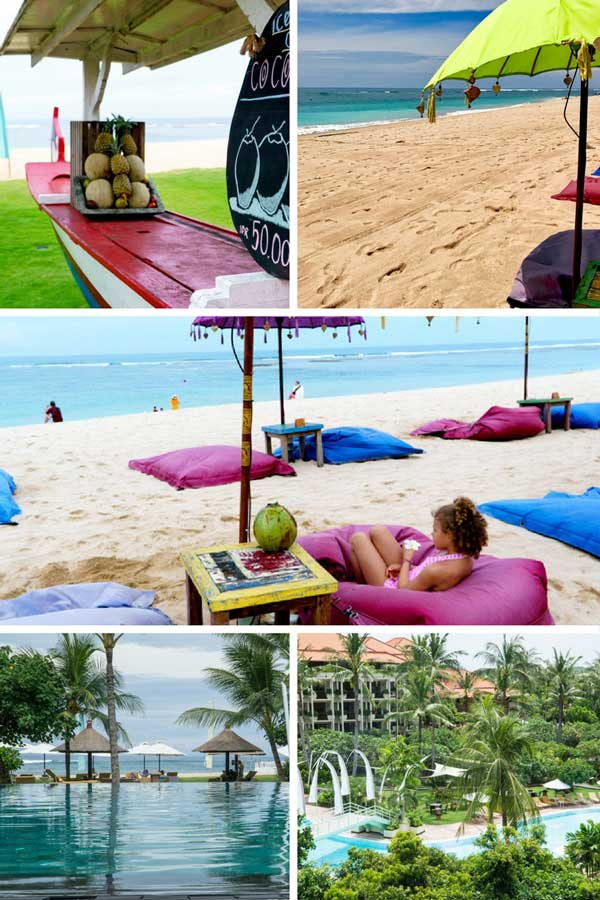 A collage of beaches and pools at a resort in Bali