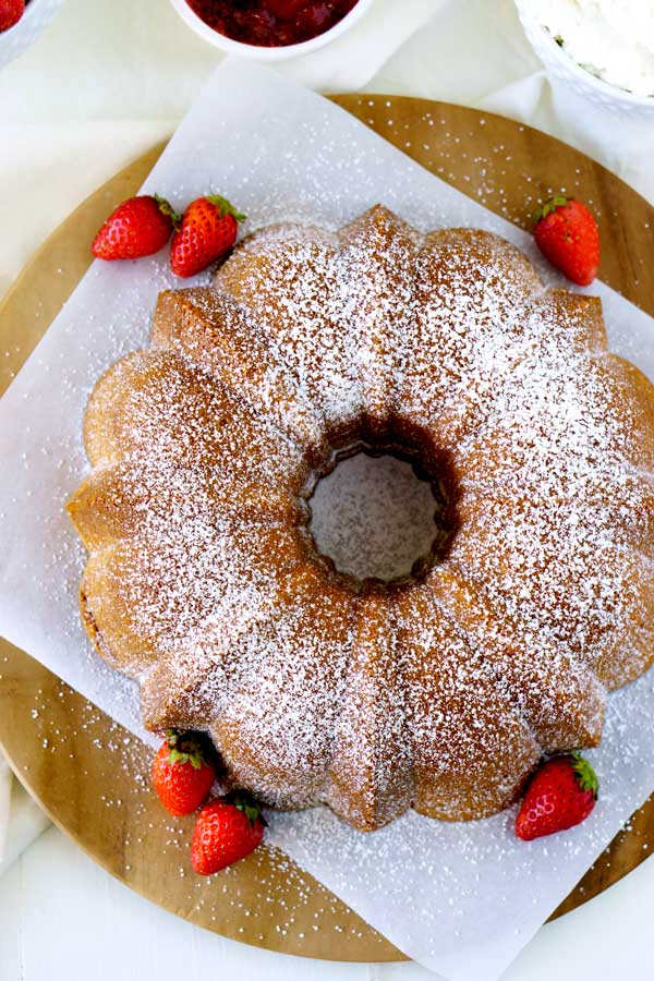 Top view of Cream Cheese Pound Cake