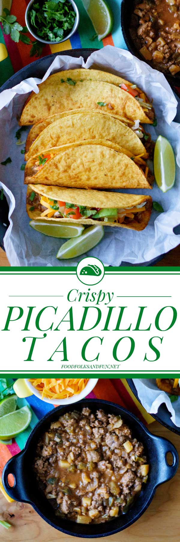 These Picadillo Tacos recipe (Tacos de Picadillo) are crispy ground beef and potato tacos that are easy to make and feed a crowd. via @foodfolksandfun