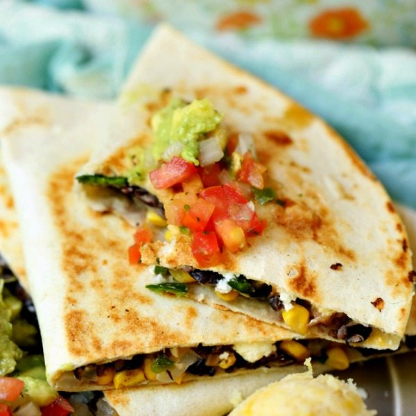 Loaded Vegetarian Quesadilla With Goat Cheese Corn Black Beans And Poblano Food Folks And Fun