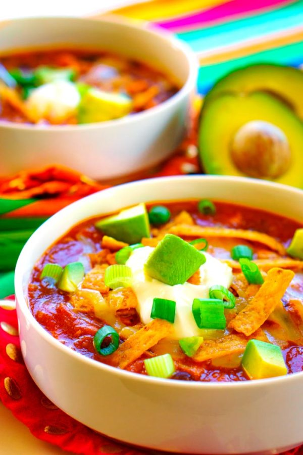 A close up picture of taco soup.