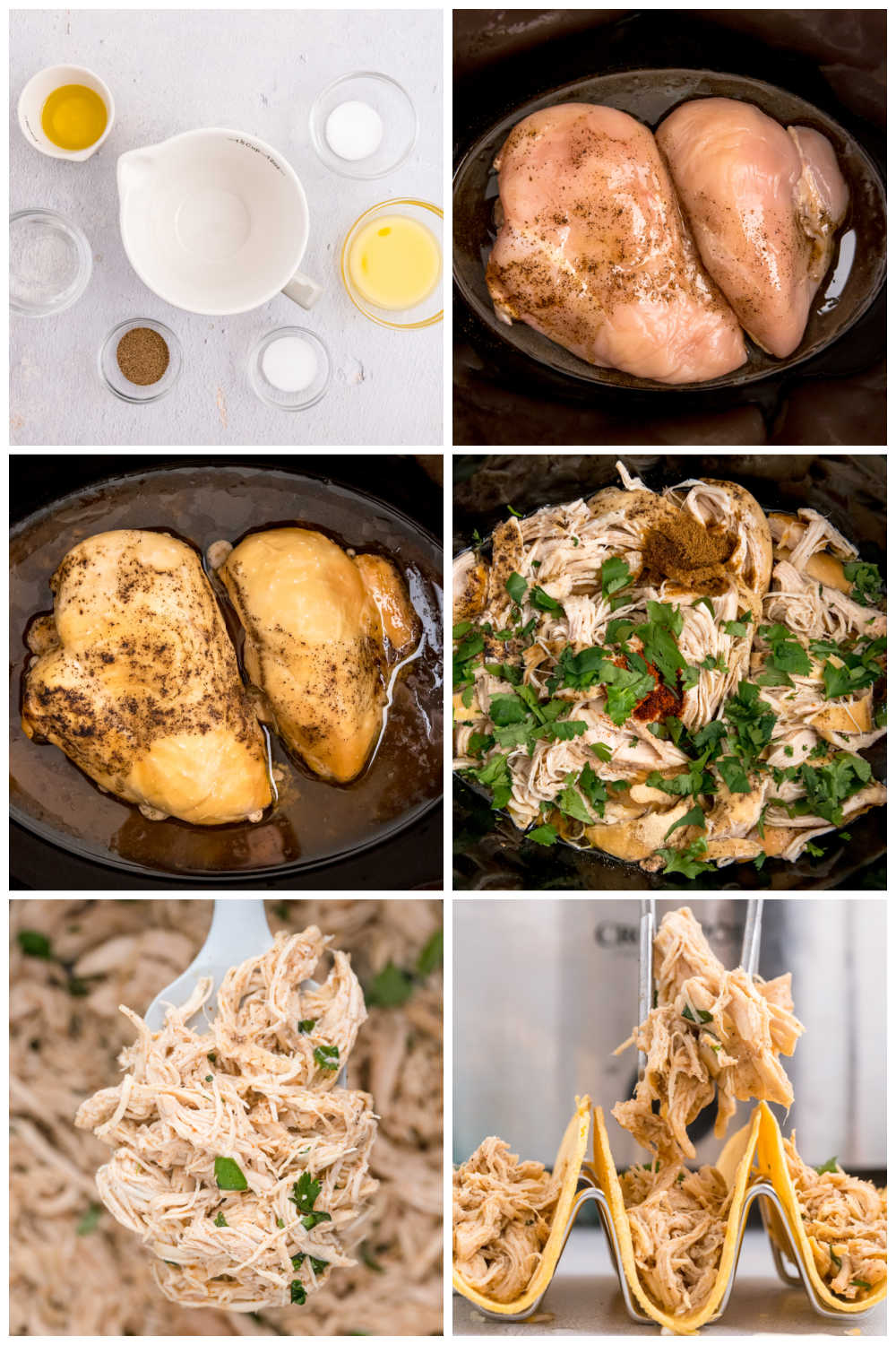 A picture collage of how to make Crockpot Shredded Chicken Tacos.