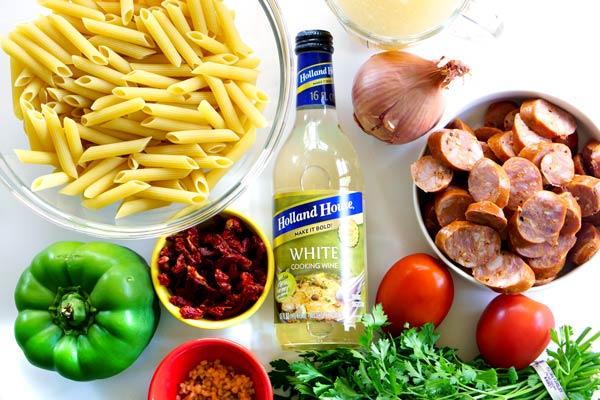 Ingredients for One Pot Cajun Pasta recipe