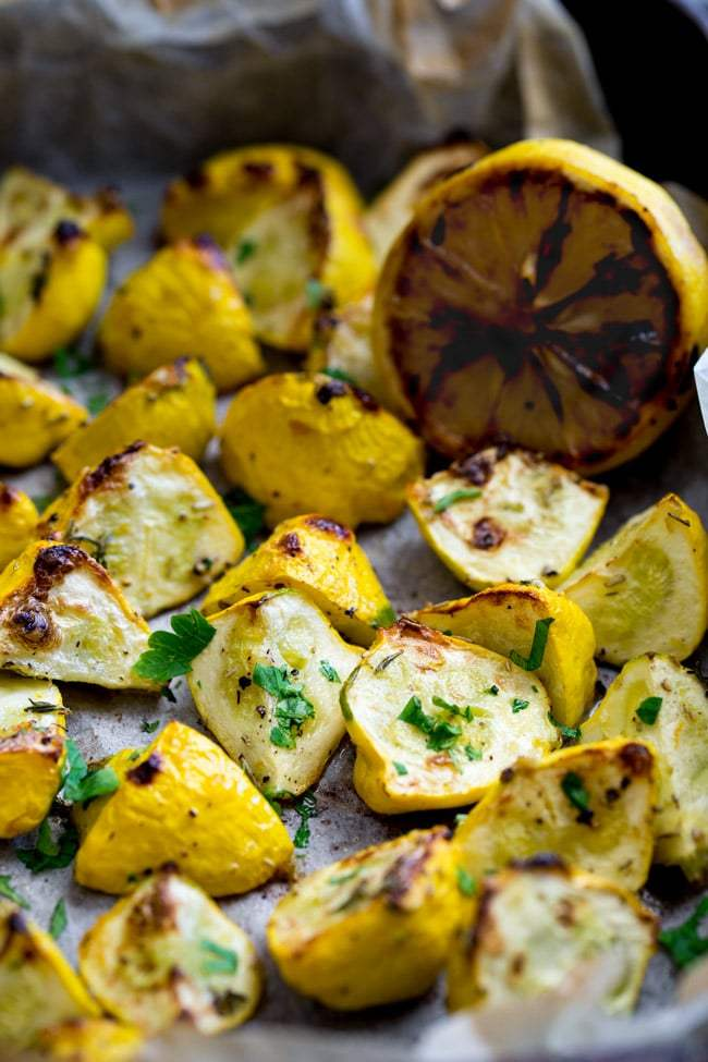 Roasted summer squash on a baking sheet