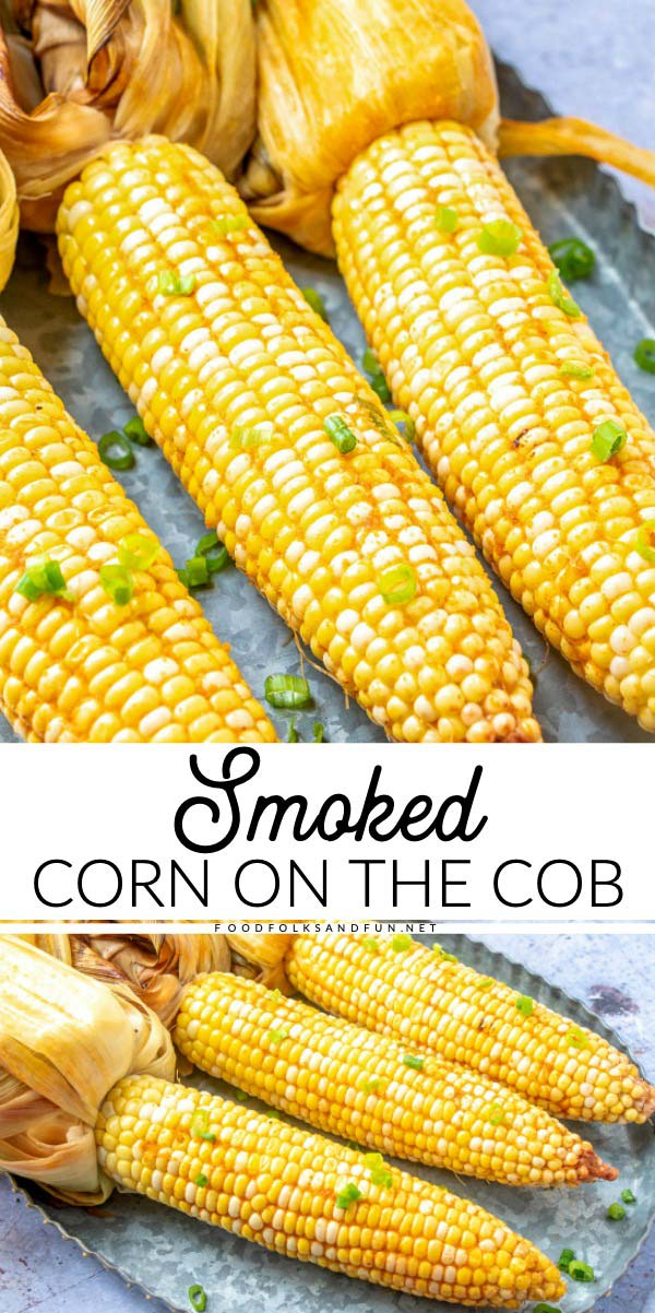 Picture collage of corn that has been smoked.