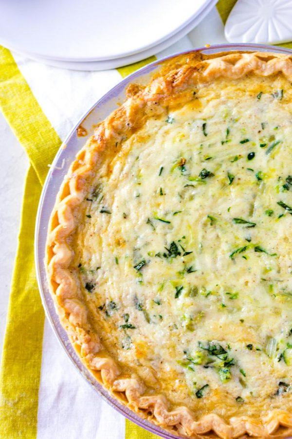Overhead picture of this finished Cheesy Zucchini Quiche recipe