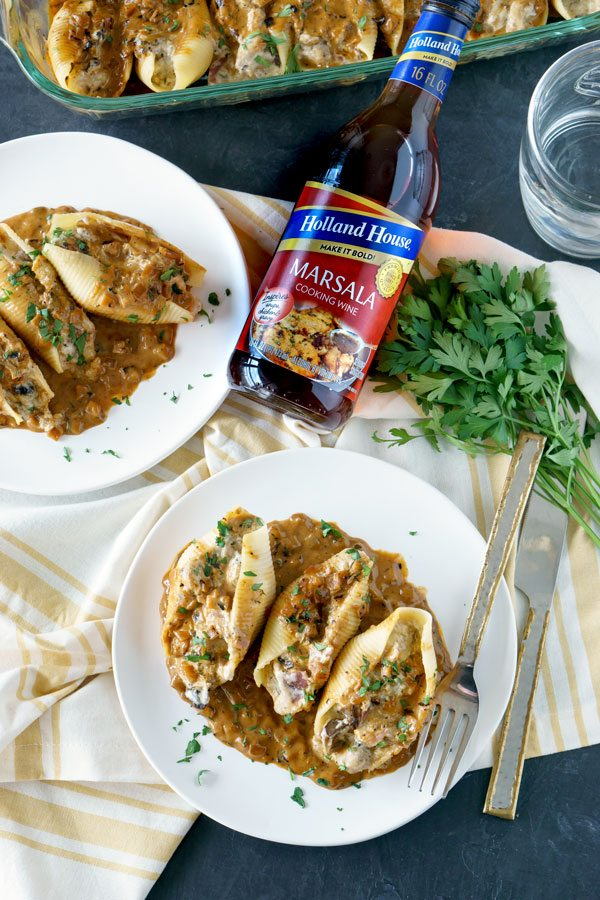 Chicken Marsala Stuffed Shells, a delicious chicken recipe.