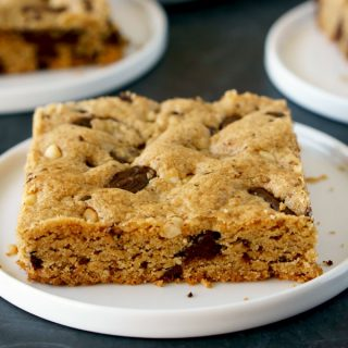 Peanut Butter Cookie Bars cut into large squares