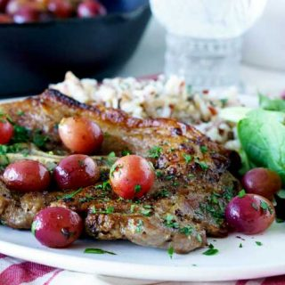 Skillet Pork Chops with Grapes is an easy dinner party recipe.