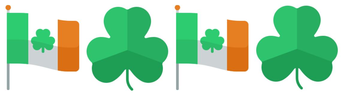 Ireland flag and shamrocks
