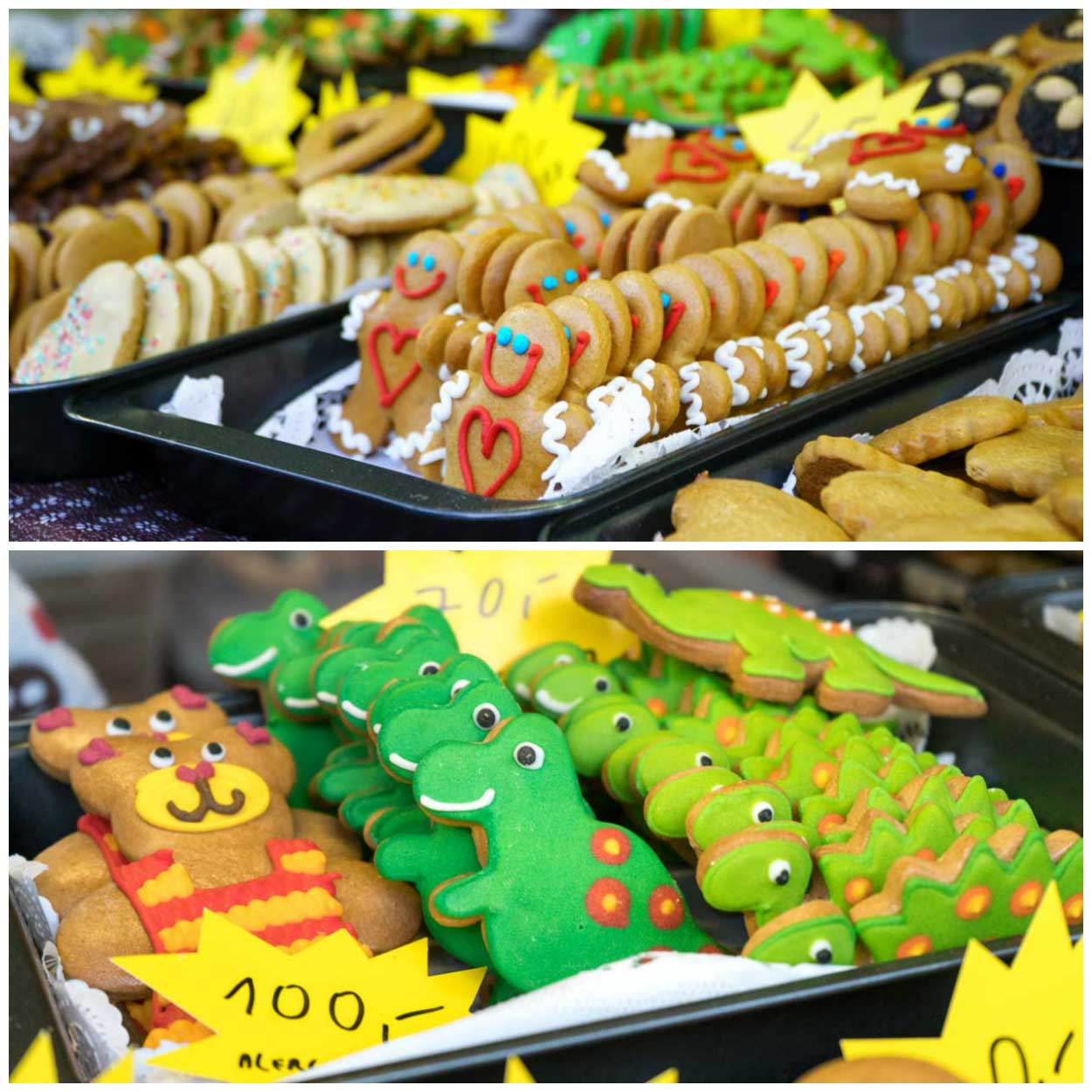 A collage of Gingerbread cookies at a Christmas Market