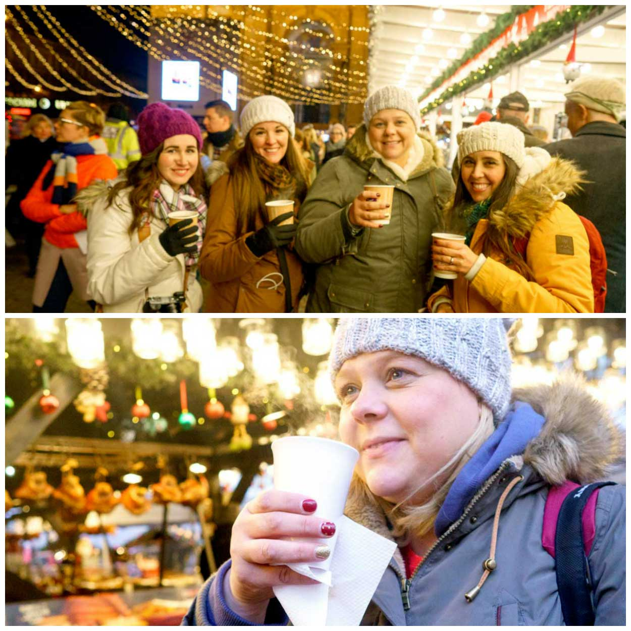 A collage of drinking Kinder Punch at a Christmas market