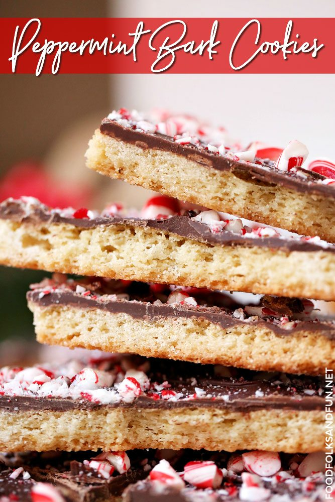 Shortbread cookies with chocolate and peppermint stacked on top of each other.