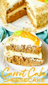 Carrot Cake with layer of cheesecake and cream cheese frosting.