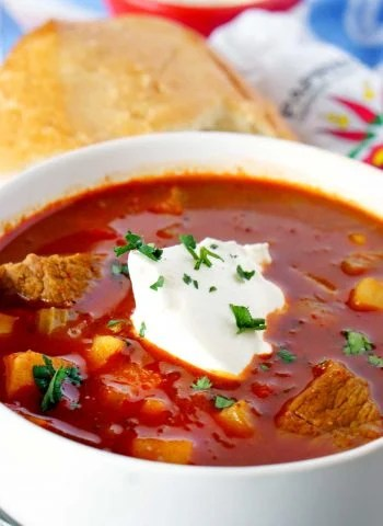 A bowl of Proper Hungarian Goulash