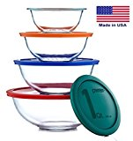 Various sizes of glass mixing bowls with lids