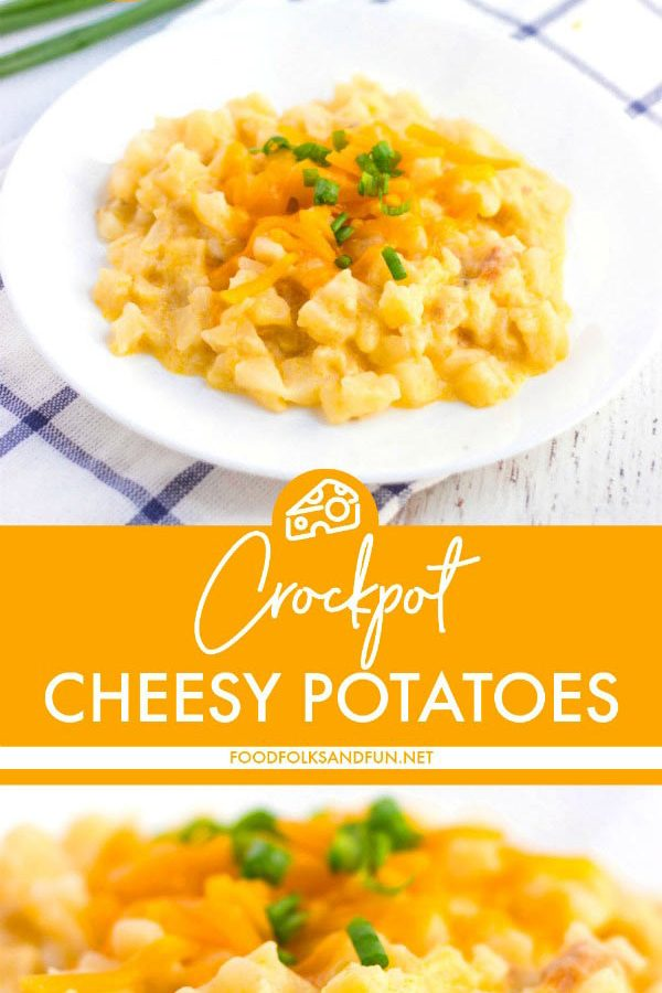 These Crockpot Cheesy Potatoes are the easiest and the best side dish or breakfast dish for any get-together!
