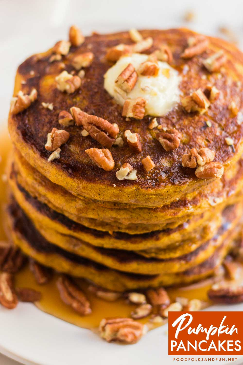 Top view of a stack of pumpkin pancakes