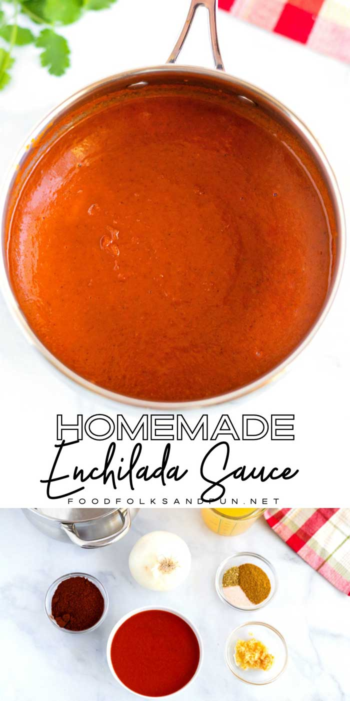 Homemade enchilada sauce is just minutes away with my simple recipe. Not only does it taste better than store-bought, but it's also quick & easy, too! via @foodfolksandfun