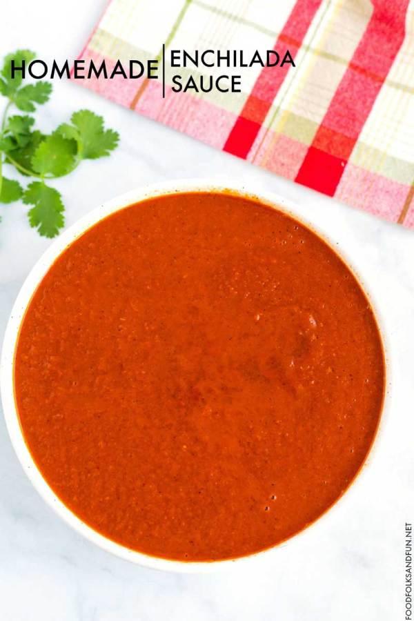 Homemade enchilada sauce in a bowl.