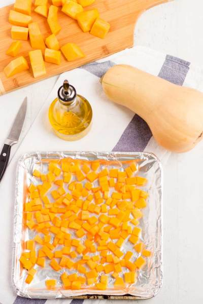 Butternut Squash Cubes ready for the Oven
