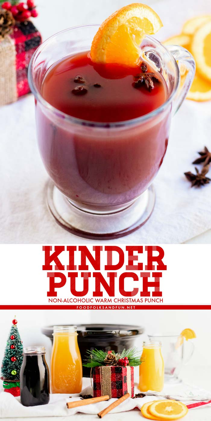Apple cider, cherry juice, orange juice, and warm winter spices like cinnamon, cloves, and star anise make this the best warm Christmas Kinderpunsch recipe!  via @foodfolksandfun