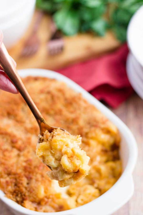 Digging into baked mac and cheese