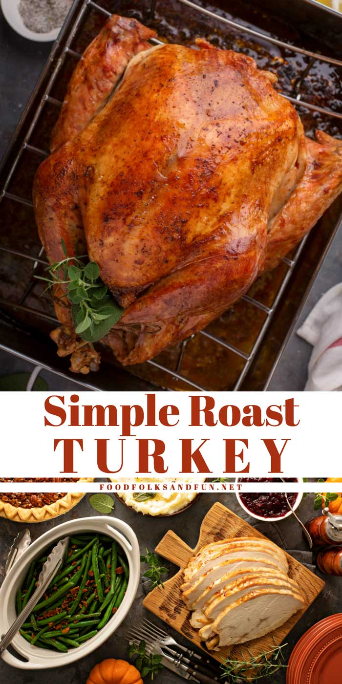 Picture collage of turkey bring and roast turkey for Pinterest.