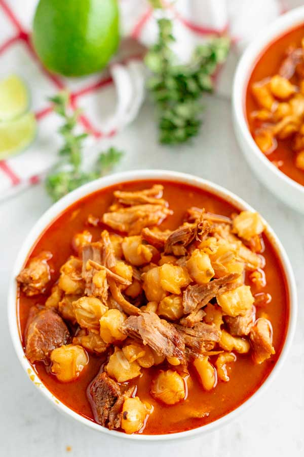 Top view of a bowl of New Mexico Posole